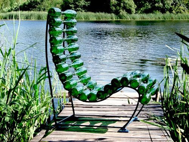 Wine Bottle DIY Crafts - Chair Made From Wine Bottles - Projects for Lights, Decoration, Gift Ideas, Wedding, Christmas. Easy Cut Glass Ideas for Home Decor on Pinterest