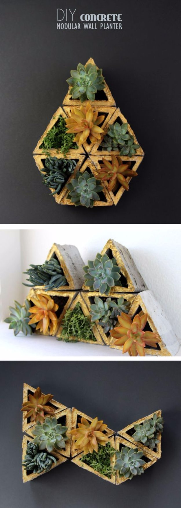 43 DIY concrete crafts - Concrete Modular Geometric Wall Planters - Cheap and creative countertops and ideas for floors, patio and porch decor, tables, planters, vases, frames, jewelry holder, home decor and DIY gifts #gifts #diy