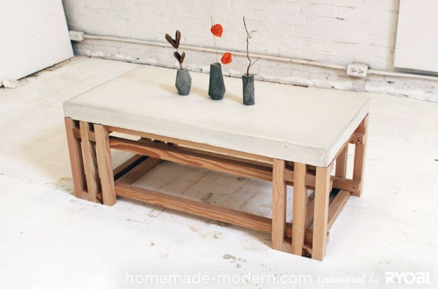 43 DIY concrete crafts - Concrete Wood Coffee Table- Cheap and creative projects and tutorials for countertops and ideas for floors, patio and porch decor, tables, planters, vases, frames, jewelry holder, home decor and DIY gifts #gifts #diy