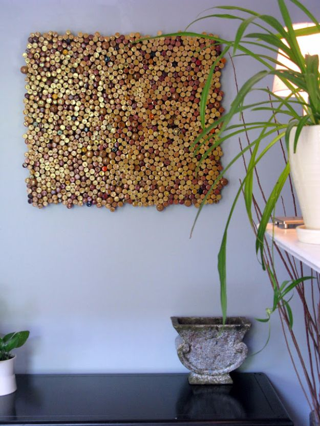 DIY Wall Art Ideas - Wine Cork Crafts for Wall Decor - Handmade Art to Make For Living Room, Bedroom, Bathroom, Room, Kitchen | Cork Wall Art Tutorial | Cheap Decorating Ideas for Walls| How to Make Painted Pictures With These Easy Step By Step Tutorial