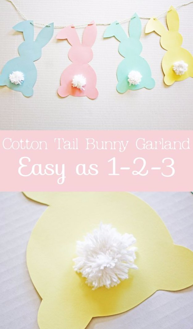 DIY Easter Decorations - Decor Ideas for the Home and Table - Cotton Tail Bunny DIY Garland - Cute Easter Wreaths, Cheap and Easy Dollar Store Crafts for Kids. Vintage and Rustic Centerpieces and Mantel Decorations.