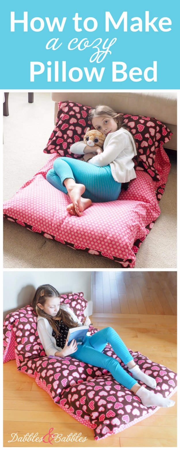 Sewing Projects for The Home - Cozy Pillow Bed - Free DIY Sewing Patterns, Easy Ideas and Tutorials for Curtains, Upholstery, Napkins, Pillows and Decor #homedecor #diy #sewing