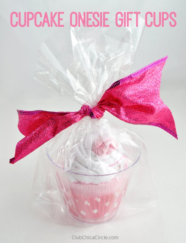 DIY Baby Gifts - Cupcake Onesie Gift Cups - Homemade Baby Shower Presents and Creative, Cheap Gift Ideas for Boys and Girls - Unique Gifts for the Mom and Dad to Be - Blankets, Baskets, Burp Cloths and Easy No Sew Projects