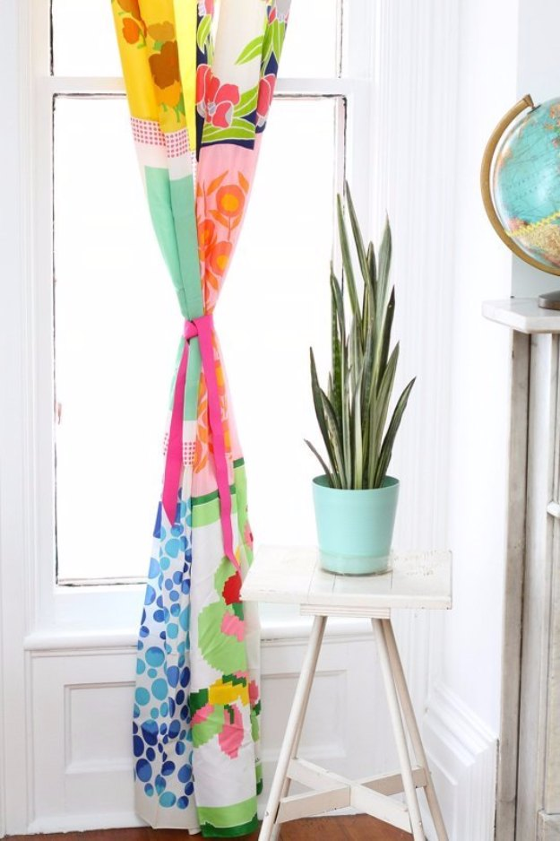 Sewing Projects for The Home - Curtains from Vintage Scarves - Free DIY Sewing Patterns, Easy Ideas and Tutorials for Curtains, Upholstery, Napkins, Pillows and Decor http://diyjoy.com/sewing-projects-for-the-home