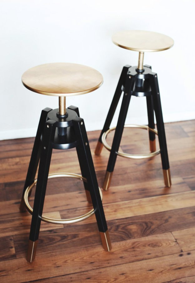 IKEA Hacks and DIY Hack Ideas for Furniture Projects and Home Decor from IKEA - DALFRED IKEA Bar Stools Makeover IKEA Hack - Creative IKEA Hack Tutorials for DIY Platform Bed, Desk, Vanity, Dresser, Coffee Table, Storage and Kitchen Decor http://diyjoy.com/diy-ikea-hacks