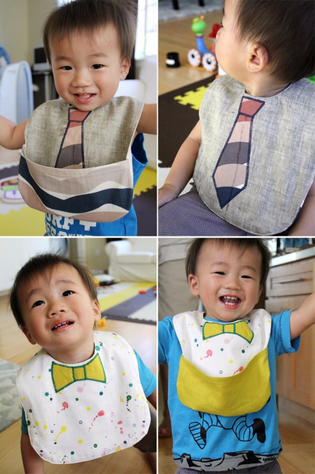 DIY Baby Gifts - DIY Baby Bib with Pocket - Homemade Baby Shower Presents and Creative, Cheap Gift Ideas for Boys and Girls - Unique Gifts for the Mom and Dad to Be - Blankets, Baskets, Burp Cloths and Easy No Sew Projects #diybaby #babygifts #babyshower