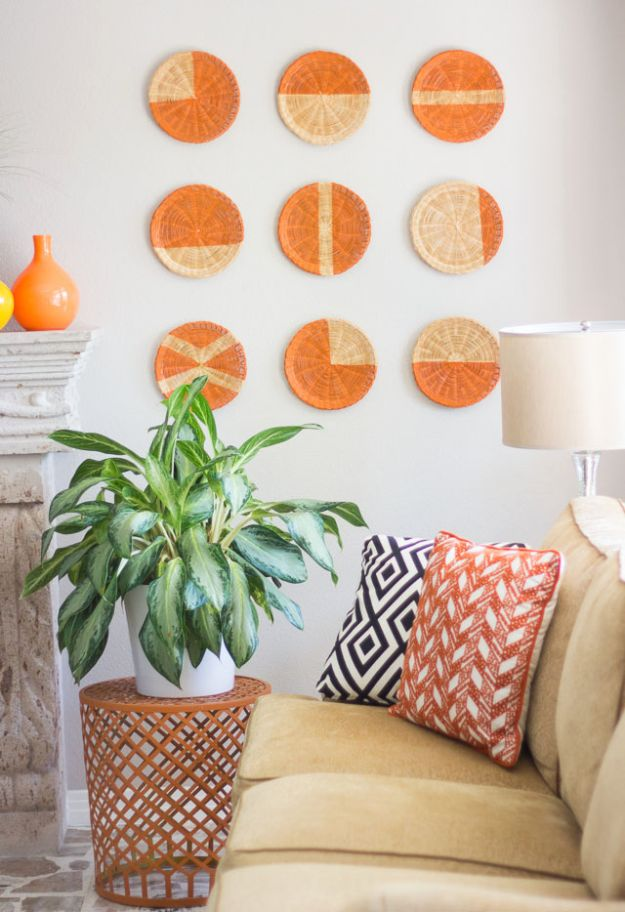DIY Wall Art Ideas and Do It Yourself Wall Decor for Living Room, Bedroom, Bathroom, Teen Rooms | DIY Basket Wall Art | Cheap Ideas for Those On A Budget. Paint Awesome Hanging Pictures With These Easy Step By Step Tutorials and Projects | http://diyjoy.com/diy-wall-art-decor-ideas
