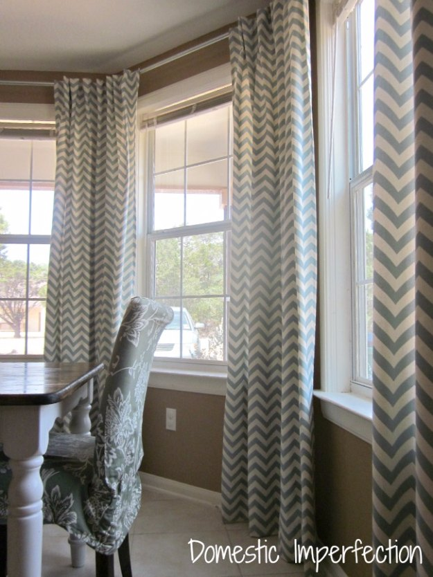 Sewing Projects for The Home - DIY Bay Window Curtain Rod & Back Tab Curtains - Free DIY Sewing Patterns, Easy Ideas and Tutorials for Curtains, Upholstery, Napkins, Pillows and Decor #homedecor #diy #sewing