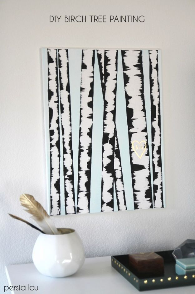DIY Wall Art Ideas and Do It Yourself Wall Decor for Living Room, Bedroom, Bathroom, Teen Rooms | DIY Birch Tree Wall Art | Cheap Ideas for Those On A Budget. Paint Awesome Hanging Pictures With These Easy Step By Step Tutorial