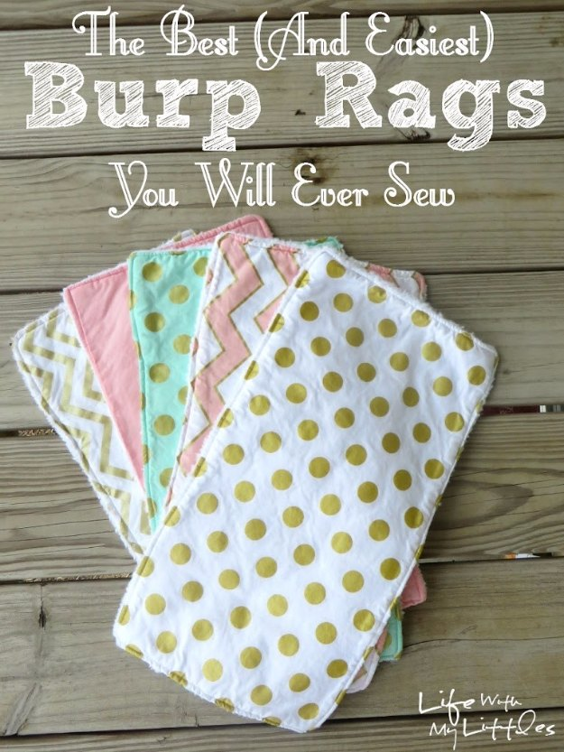 DIY Baby Gifts - DIY Burp Rags - Homemade Baby Shower Presents and Creative, Cheap Gift Ideas for Boys and Girls - Unique Gifts for the Mom and Dad to Be - Blankets, Baskets, Burp Cloths and Easy No Sew Projects #diybaby #babygifts #babyshower