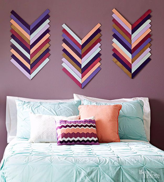 DIY Wall Art Ideas and Do It Yourself Wall Decor for Living Room, Bedroom, Bathroom, Teen Rooms | DIY Chevron Wall Art | Cheap Ideas for Those On A Budget. Paint Awesome Hanging Pictures With These Easy Step By Step Tutorial