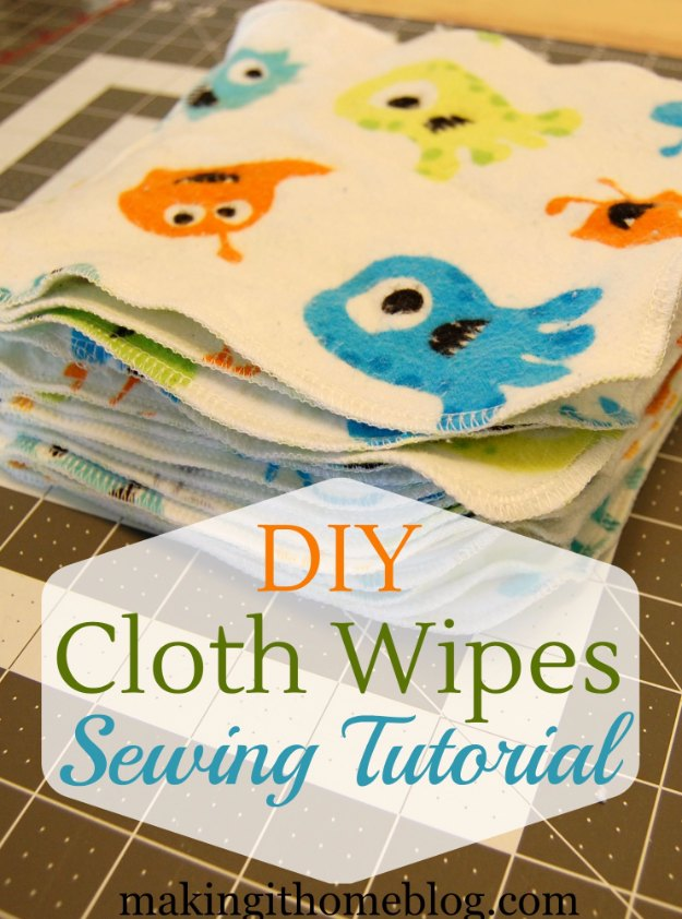 DIY Baby Gifts - DIY Cloth Wipes Sewing Tutorial - Homemade Baby Shower Presents and Creative, Cheap Gift Ideas for Boys and Girls - Unique Gifts for the Mom and Dad to Be - Blankets, Baskets, Burp Cloths and Easy No Sew Projects #diybaby #babygifts #babyshower