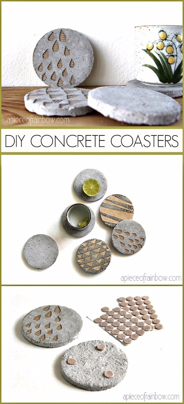 43 DIY concrete crafts - DIY Concrete Coasters With Decorative Inserts - Cheap and creative countertops and ideas for floors, patio and porch decor, tables, planters, vases, frames, jewelry holder, home decor and DIY gifts #gifts #diy