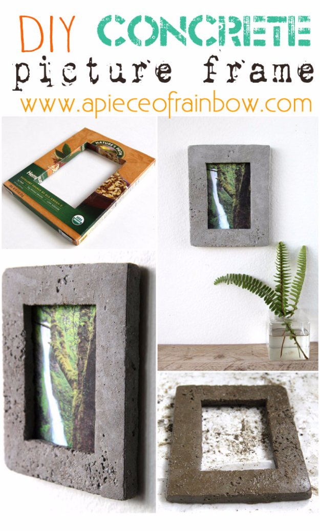 43 DIY concrete crafts - DIY Concrete Picture Frame - Cheap and creative projects and tutorials for countertops and ideas for floors, patio and porch decor, tables, planters, vases, frames, jewelry holder, home decor and DIY gifts #gifts #diy-