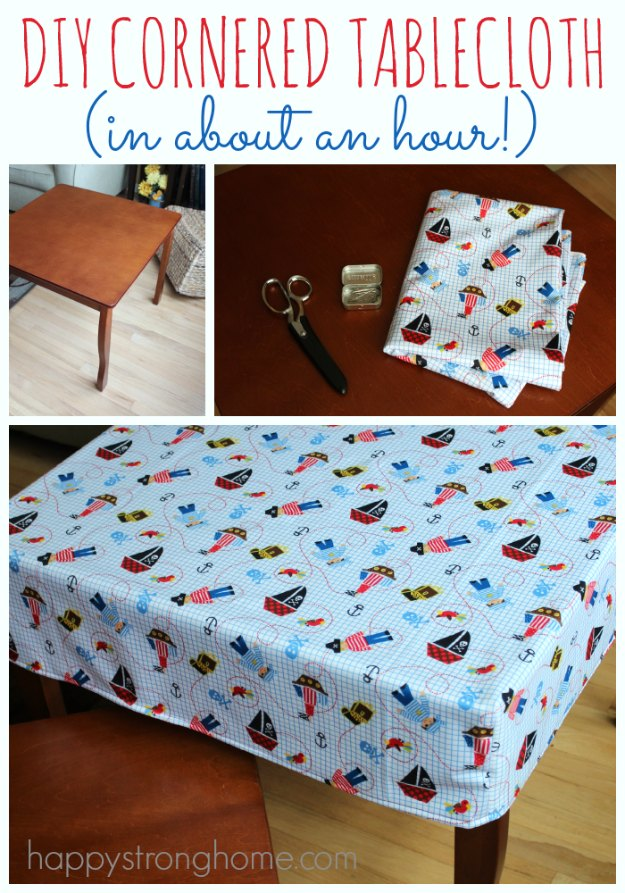 Sewing Projects for The Home - DIY Cornered Tablecloth Tutorial - Free DIY Sewing Patterns, Easy Ideas and Tutorials for Curtains, Upholstery, Napkins, Pillows and Decor #homedecor #diy #sewing