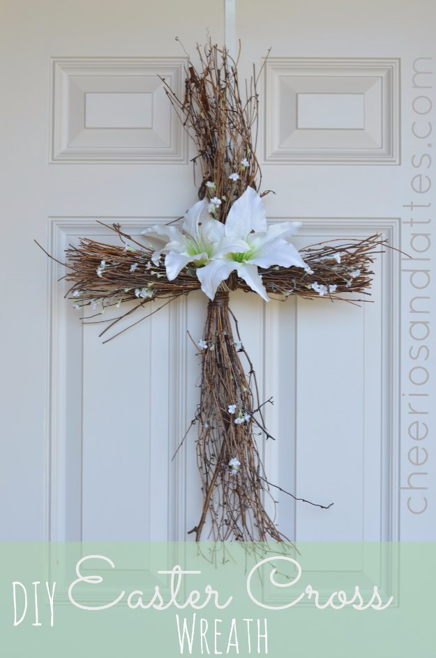 DIY Easter Decorations - Decor Ideas for the Home and Table - DIY Easter Cross Wreath - Cute Easter Wreaths, Cheap and Easy Dollar Store Crafts for Kids. Vintage and Rustic Centerpieces and Mantel Decorations.