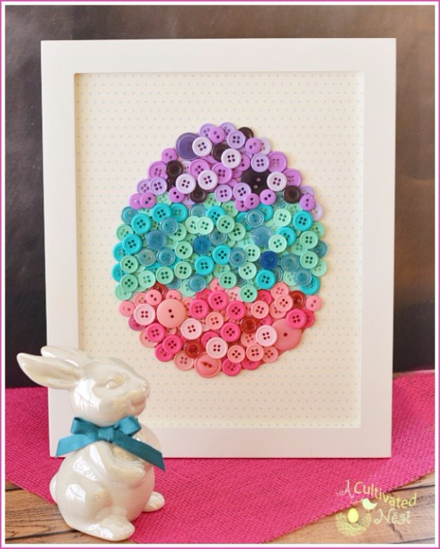 DIY Easter Decorations - Decor Ideas for the Home and Table - DIY Easter Egg Button Craft - Cute Easter Wreaths, Cheap and Easy Dollar Store Crafts for Kids. Vintage and Rustic Centerpieces and Mantel Decorations.