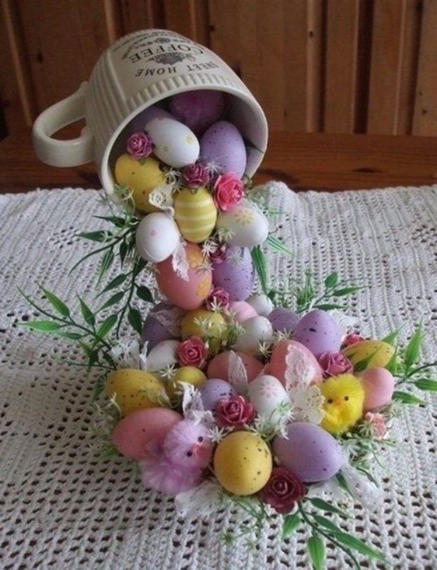 DIY Easter Decorations - Decor Ideas for the Home and Table - DIY Easter Egg Flying Cup Topiary - Cute Easter Wreaths, Cheap and Easy Dollar Store Crafts for Kids. Vintage and Rustic Centerpieces and Mantel Decorations.