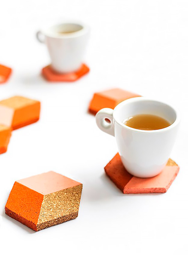 Expensive Looking DIY Wedding Gift Ideas - DIY Geometric Coasters - Easy and Unique Homemade Gift Ideas for Bride and Groom - Cheap Presents You Can Make for the Couple- for the Home, From The Kids, Personalized Ideas for Parents and Bridesmaids | http://diyjoy.com/cheap-diy-wedding-gifts