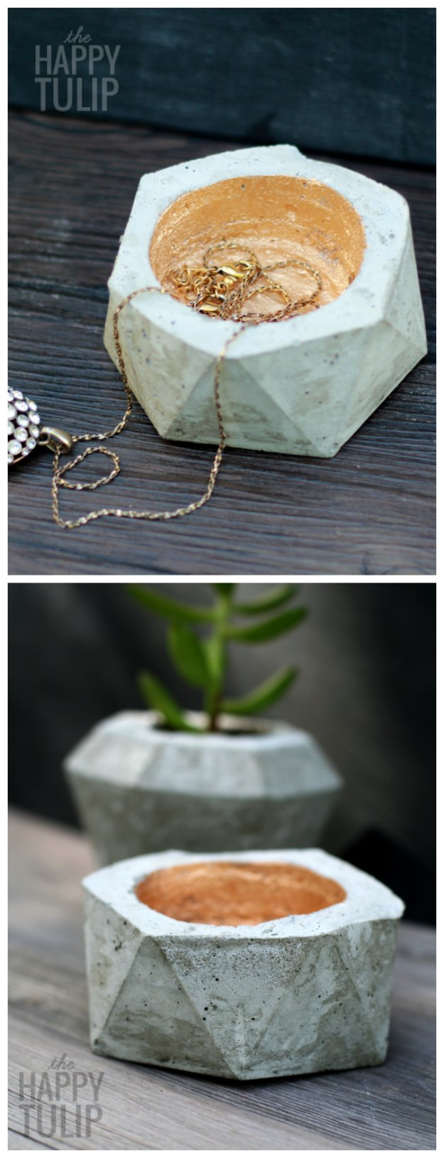 43 DIY concrete crafts - DIY Geometric Concrete Jewelry Holders- Cheap and creative projects and tutorials for countertops and ideas for floors, patio and porch decor, tables, planters, vases, frames, jewelry holder, home decor and DIY gifts. http://diyjoy.com/diy-concrete-crafts-projects-
