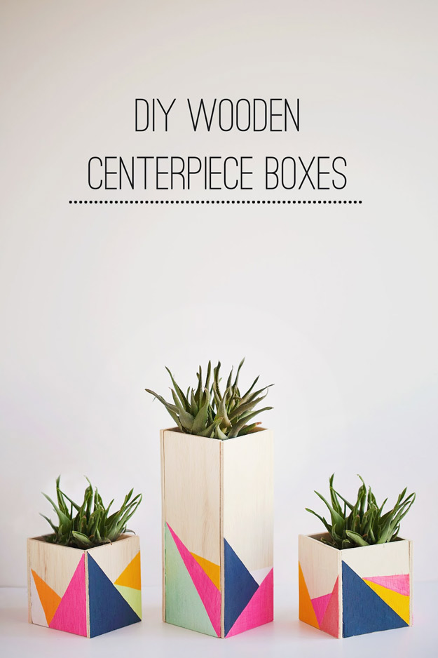 Expensive Looking DIY Wedding Gift Ideas - DIY Geometric Painted Wooden Centerpiece - Easy and Unique Homemade Gift Ideas for Bride and Groom - Cheap Presents You Can Make for the Couple- for the Home, From The Kids, Personalized Ideas for Parents and Bridesmaids | http://diyjoy.com/cheap-diy-wedding-gifts