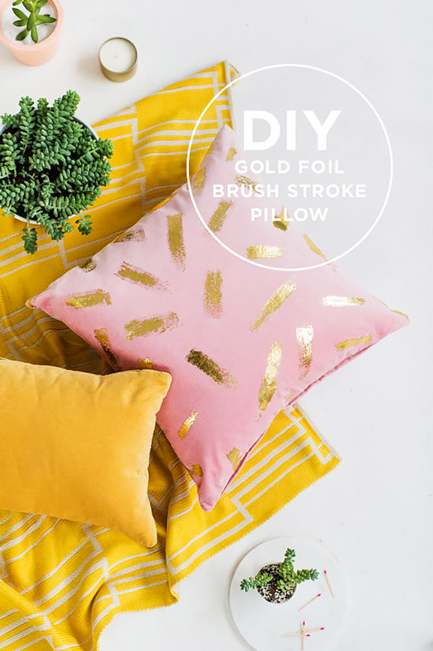 Expensive Looking DIY Wedding Gift Ideas - DIY Gold Foil Brush Stroke Pillow - Easy and Unique Homemade Gift Ideas for Bride and Groom - Cheap Presents You Can Make for the Couple- for the Home, From The Kids, Personalized Ideas for Parents and Bridesmaids | http://diyjoy.com/cheap-diy-wedding-gifts
