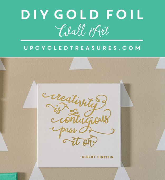 DIY Wall Art Ideas and Do It Yourself Wall Decor for Living Room, Bedroom, Bathroom, Teen Rooms | DIY Gold Foil Wall Art | Cheap Ideas for Those On A Budget. Paint Awesome Hanging Pictures With These Easy Step By Step Tutorial