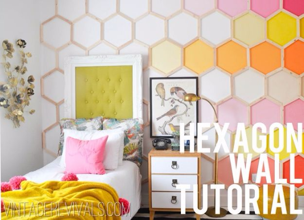 Cool DIY Wall Art Ideas - Easy Do It Yourself Wall Decor for Bedroom, Apartment, Dorm Rooms | DIY Honeycomb Hexagon Wall Art | Cheap Decorating Ideas for DIY Christmas Gifts To Paint Awesome Hanging Pictures With These Easy Step By Step Tutorial