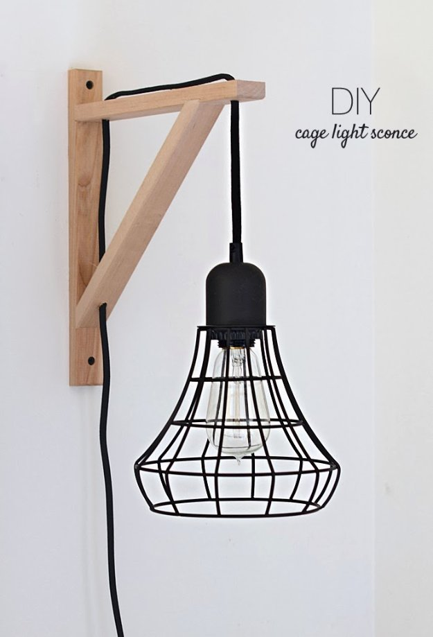 DIY Lighting Ideas - DIY Farmhouse Home Decor from IKEAIKEA Hacks and DIY Hack Ideas for Furniture Projects and Home Decor from IKEA - DIY IKEA Hack Cage Light Sconce - Creative IKEA Hack Tutorials for Lights in Living Room, Kitchen, Hall or Dining Rooms