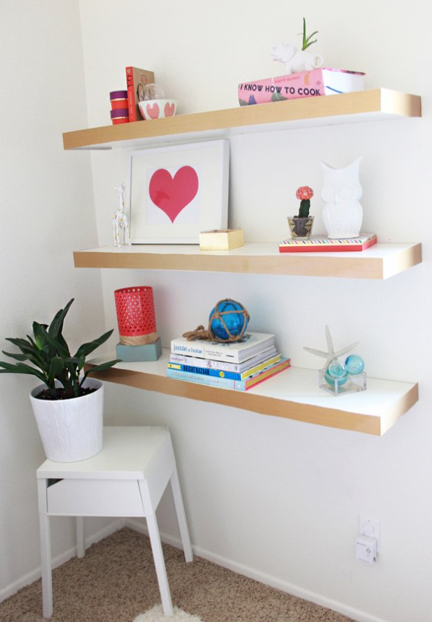IKEA Hack and DIY Ideas for Furniture - Room Decor DYI Projects and Home Decor - Creative and Cheap Bedroom, Living Room and Kitchen Furniture from IKEA - DIY Ikea Hack Floating Shelves Color Block - Creative IKEA Hack Tutorials for DIY Platform Bed, Desk, Vanity, Dresser, Coffee Table, Storage and Room Decor DYI