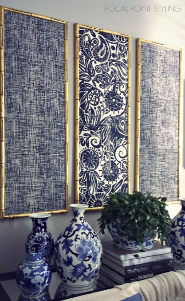 DIY Wall Art Ideas and Do It Yourself Wall Decor for Living Room, Bedroom, Bathroom, Teen Rooms | DIY Indigo Wall Art With Framed Fabric | Cheap Ideas for Those On A Budget. Paint Awesome Hanging Pictures With These Easy Step By Step Tutorial