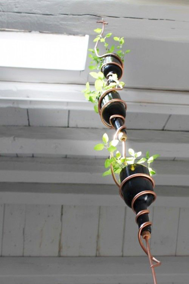 Wine Bottle DIY Crafts - DIY Modern Herb Garden From Recycled Wine Bottles - Projects for Lights, Decoration, Gift Ideas, Wedding, Christmas. Easy Cut Glass Ideas for Home Decor on Pinterest