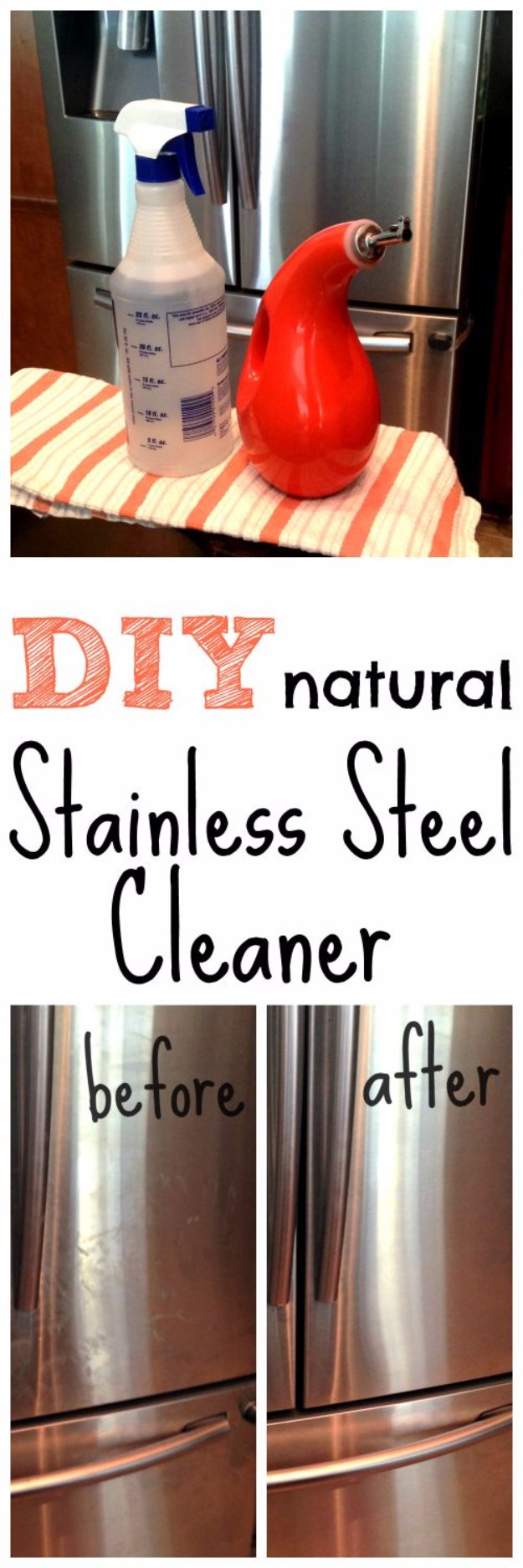 Best Natural Homemade DIY Cleaners and Recipes - DIY Natural Stainless Steel Cleaner Recipe - All Purposed Home Care and Cleaning with Vinegar, Essential Oils and Other Natural Ingredients For Cleaning Bathroom, Kitchen, Floors, Laundry, Furniture and More