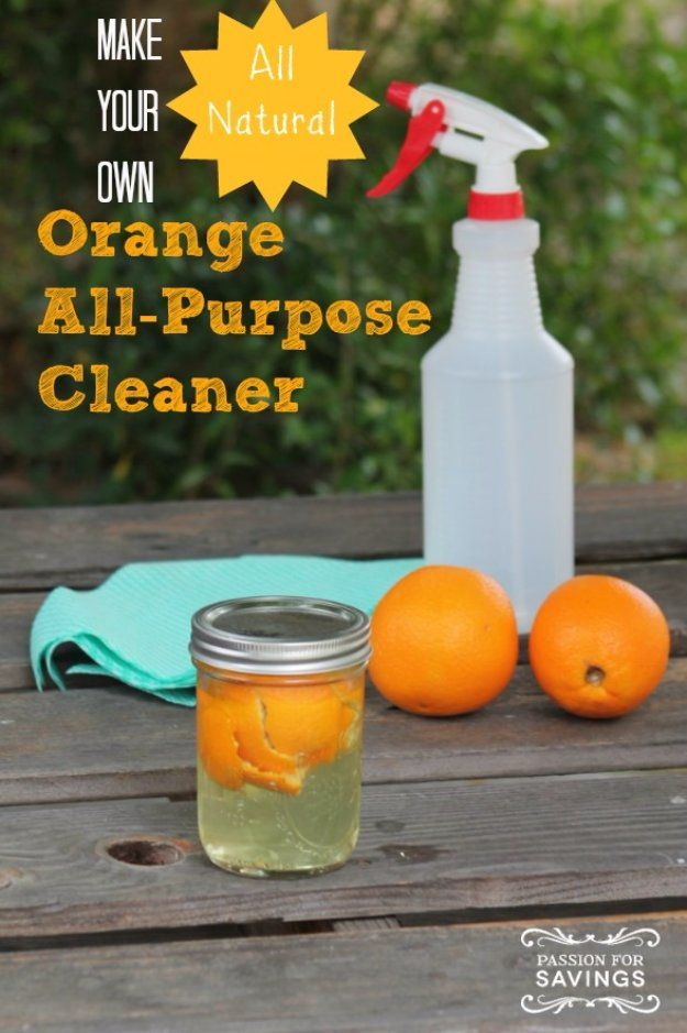 Best Natural Homemade DIY Cleaners and Recipes - DIY Orange All-Purpose Cleaner Recipe - All Purposed Home Care and Cleaning with Vinegar, Essential Oils and Other Natural Ingredients For Cleaning Bathroom, Kitchen, Floors, Laundry, Furniture and More