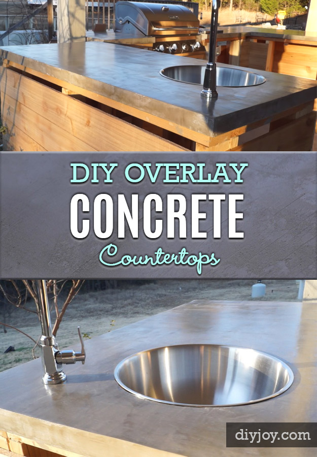 43 DIY concrete crafts - DIY Overlay Concrete Countertops - Cheap and creative projects and tutorials for countertops and ideas for floors, patio and porch decor, tables, planters, vases, frames, jewelry holder, home decor and DIY gifts #gifts #diy