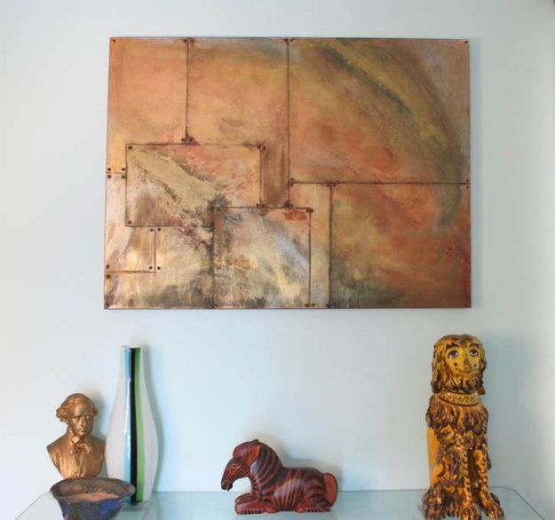 DIY Wall Art Ideas and Do It Yourself Wall Decor for Living Room, Bedroom, Bathroom, Teen Rooms | DIY Oxidized Copper Painting | Cheap Ideas for Those On A Budget. Paint Awesome Hanging Pictures With These Easy Step By Step Tutorials and Projects | http://diyjoy.com/diy-wall-art-decor-ideas
