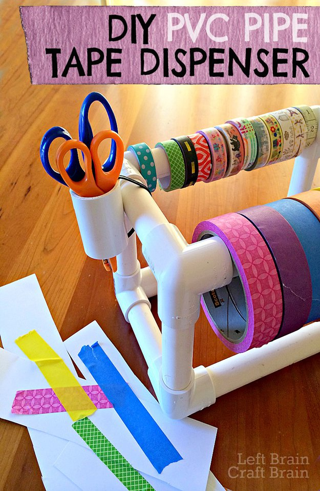 DIY Craft Room Ideas and Craft Room Organization Projects - DIY PVC Pipe Tape Dispenser - Cool Ideas for Do It Yourself Craft Storage - fabric, paper, pens, creative tools, crafts supplies and sewing notions