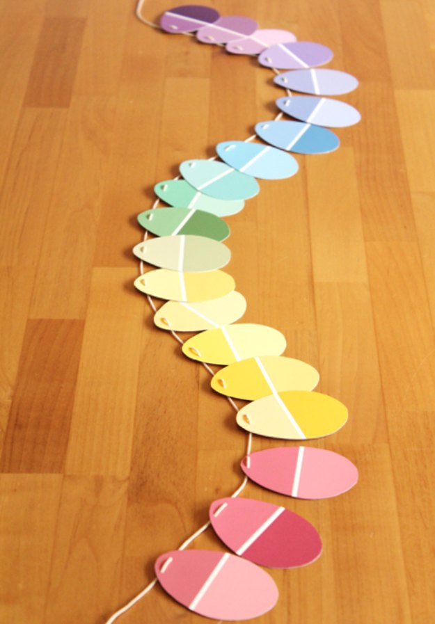 DIY Easter Decorations - Decor Ideas for the Home and Table - DIY Paint Chip Easter Garland - Cute Easter Wreaths, Cheap and Easy Dollar Store Crafts for Kids. Vintage and Rustic Centerpieces and Mantel Decorations. http://diyjoy.com/diy-easter-decorations