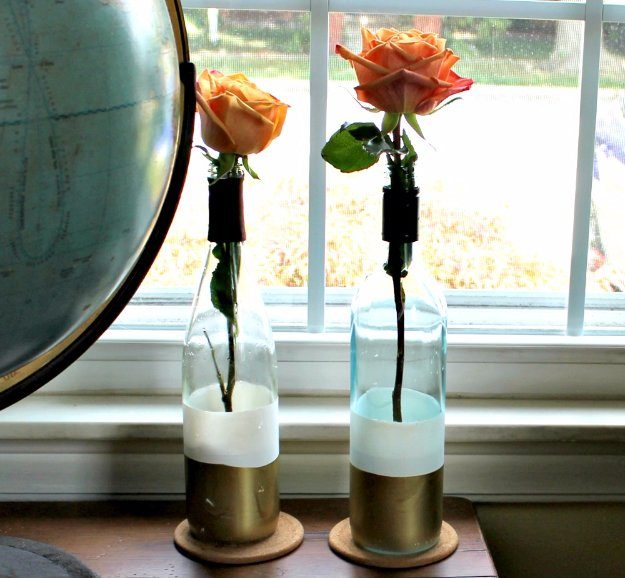 Wine Bottle DIY Crafts - DIY Paint Dipped Wine Bottle Vases - Projects for Lights, Decoration, Gift Ideas, Wedding, Christmas. Easy Cut Glass Ideas for Home Decor on Pinterest