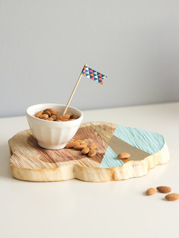 Expensive Looking DIY Wedding Gift Ideas - DIY Painted Wood Cut Platter - Easy and Unique Homemade Gift Ideas for Bride and Groom - Cheap Presents You Can Make for the Couple- for the Home, From The Kids, Personalized Ideas for Parents and Bridesmaids | http://diyjoy.com/cheap-diy-wedding-gifts