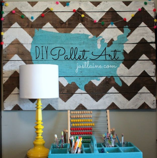 DIY Wall Art Ideas and Do It Yourself Wall Decor for Living Room, Bedroom, Bathroom, Teen Rooms | DIY Pallet Art | Cheap Ideas for Those On A Budget. Paint Awesome Hanging Pictures With These Easy Step By Step Tutorial