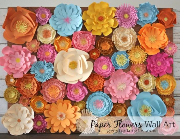 DIY Wall Art Ideas and Do It Yourself Wall Decor for Living Room, Bedroom, Bathroom, Teen Rooms | DIY Paper Flowers Wall Art | Cheap Ideas for Those On A Budget. Paint Awesome Hanging Pictures With These Easy Step By Step Tutorial