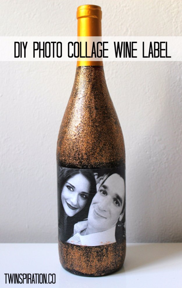 Wine Bottle DIY Crafts - DIY Photo Collage Wine Bottle - Projects for Lights, Decoration, Gift Ideas, Wedding, Christmas. Easy Cut Glass Ideas for Home Decor on Pinterest