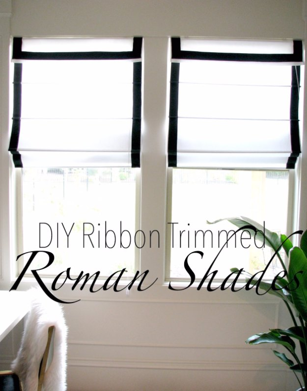Sewing Projects for The Home - DIY Ribbon Trimmed Roman Shades - Free DIY Sewing Patterns, Easy Ideas and Tutorials for Curtains, Upholstery, Napkins, Pillows and Decor #homedecor #diy #sewing