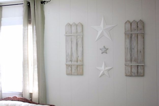 DIY Wall Art Ideas and Do It Yourself Wall Decor for Living Room, Bedroom, Bathroom, Teen Rooms | DIY Rustic Shutter and Stars Wall Art | Cheap Ideas for Those On A Budget. Paint Awesome Hanging Pictures With These Easy Step By Step Tutorials and Projects | http://diyjoy.com/diy-wall-art-decor-ideas