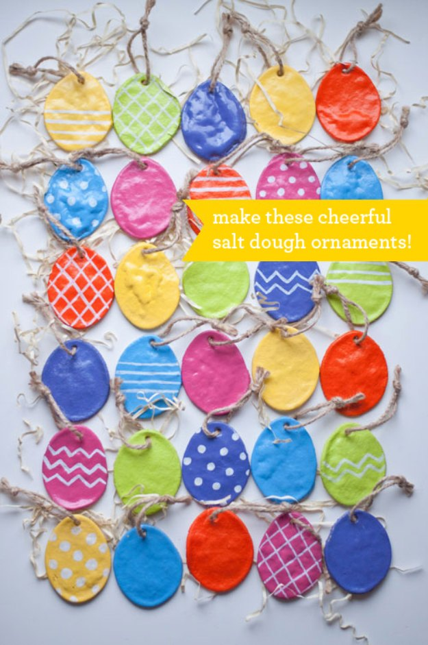DIY Easter Decorations - Decor Ideas for the Home and Table - DIY Salt Dough Easter Egg Ornaments - Cute Easter Wreaths, Cheap and Easy Dollar Store Crafts for Kids. Vintage and Rustic Centerpieces and Mantel Decorations.