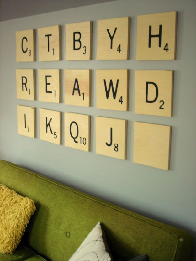 DIY Wall Art Ideas and Do It Yourself Wall Decor for Living Room, Bedroom, Bathroom, Teen Rooms | DIY Scrabble Wall Art | Cheap Ideas for Those On A Budget. Paint Awesome Hanging Pictures With These Easy Step By Step Tutorials and Projects | http://diyjoy.com/diy-wall-art-decor-ideas