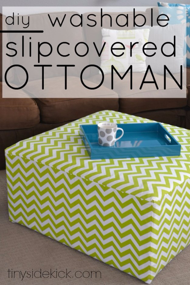 Sewing Projects for The Home - DIY Slip Covered Ottoman - Free DIY Sewing Patterns, Easy Ideas and Tutorials for Curtains, Upholstery, Napkins, Pillows and Decor #homedecor #diy #sewing
