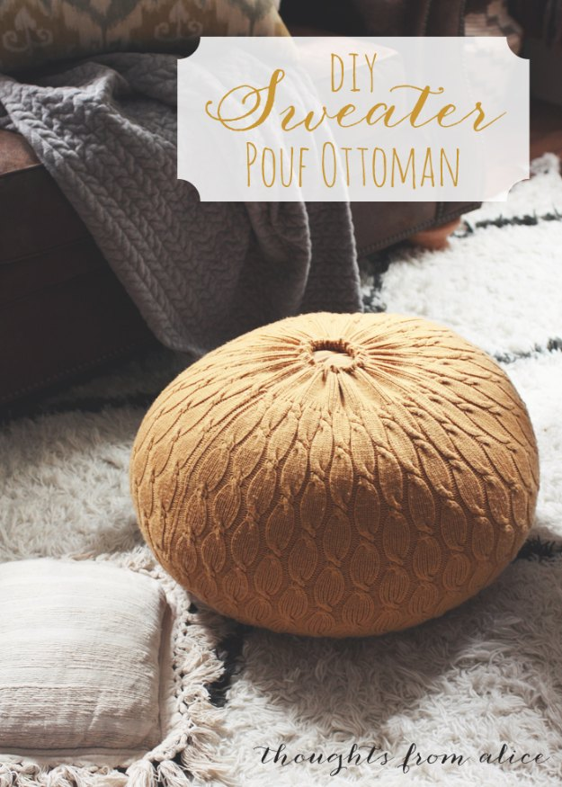 Sewing Projects for The Home - DIY Sweater Pouf Ottoman - Free DIY Sewing Patterns, Easy Ideas and Tutorials for Curtains, Upholstery, Napkins, Pillows and Decor #homedecor #diy #sewing