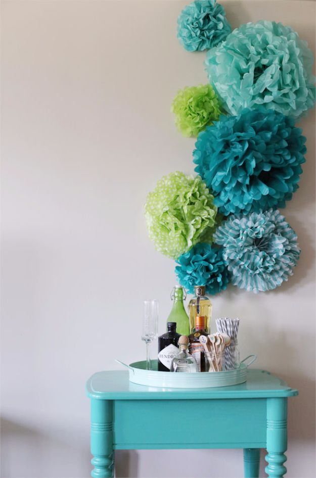 DIY Wall Art Ideas and Do It Yourself Wall Decor for Living Room, Bedroom, Bathroom, Teen Rooms | DIY Tissue Paper Pom Poms Wall Art | Cheap Ideas for Those On A Budget. Paint Awesome Hanging Pictures With These Easy Step By Step Tutorial